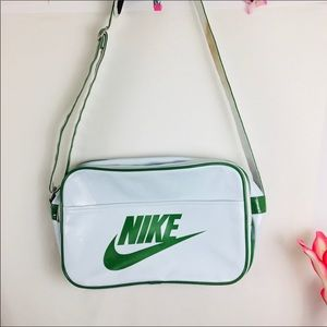 Vtg Nike Patent White Green Adjustable Crossbody